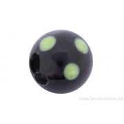 Perle en verre d'artisan -ronde - noir pois vert