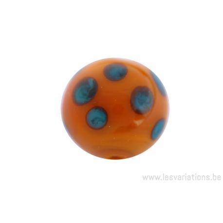 Perle en verre d'artisan -ronde - orange pois vert