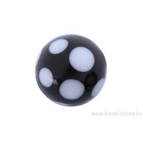 Perle en verre d'artisan -ronde - noir - pois blanc