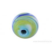 Perle en verre d'artisan -ronde - blanche nuage vert / bleu
