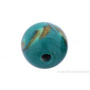 Perle en verre d'artisan -ronde - vert - nuage jaune