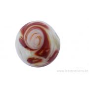 Perle en verre d'artisan -ronde - sable - spirale brune