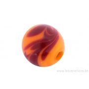Perle en verre d'artisan -ronde - orange - nuage brun
