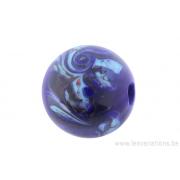 Perle en verre d'artisan -ronde - bleu - torsade rouge