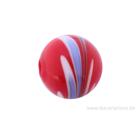 Perle en verre d'artisan -ronde - rouge - feuille bleu
