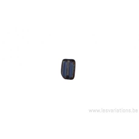 Perle en verre rectangulaire - - brun différent - tranche dans les tons vert /bleu
