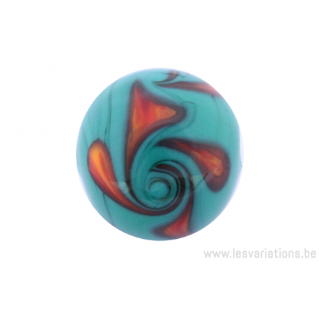 Perle en verre d'artisan -ronde - vert - torsade rouge