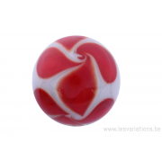 Perle en verre d'artisan -ronde - gris - torsade rouge