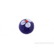 Perle en verre d'artisan -ronde - bleu - fleurs blanches