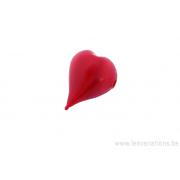 Perle en verre d'artisan - cœur - rouge