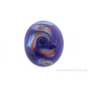 Perle en verre d'artisan -ronde - bleu - spirale - bleu /orange
