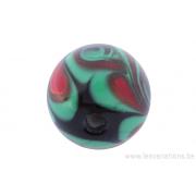 Perle en verre d'artisan -ronde - noir - spirale - vert /rouge