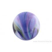 Perle en verre d'artisan -ronde - blanc - nuage mauve / bleu /vert