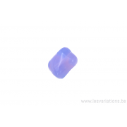 Perle rectangulaire tordue - mauve opaque et transparent