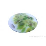 Perle en verre d'artisan -ronde en forme de roue - blanc - nuage de différents verts x 2