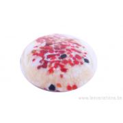 Perle en verre d'artisan -ronde en forme de roue - blanc crème- nuages de rouge et brun
