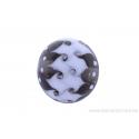 Perle en verre d'artisan - ronde - transparent / blanc