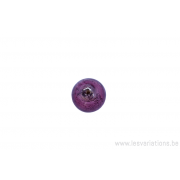 Perle en verre ronde - mauve - feuille argenté