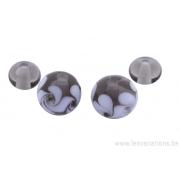 Perle en verre d'artisan - ronde - set de 4 perles - transparent / blanc