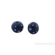 Perle en verre d'artisan - ronde - set de 2 perles - bleu /gris - beige