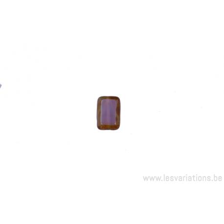 Perle en verre rectangulaire - mauve - brun sur la tranche
