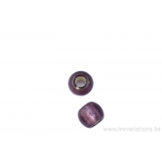 Perle en verre ronde - mauve clair - feuille argenté