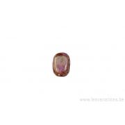 Perle en verre ovale aplatie - rose / bronze