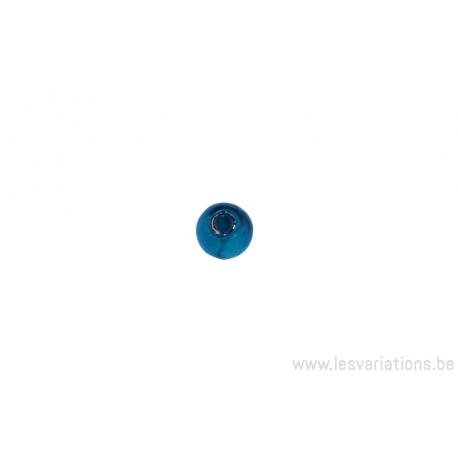 Perle en verre ronde - transparent bleu turquoise feuille argenté