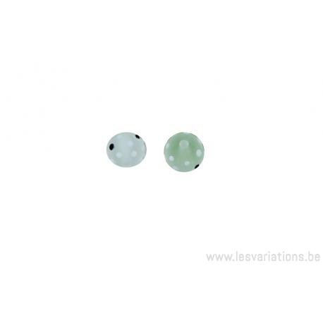 Perle en verre d'artisan - ronde - set de 2 perles - transparent blanc opaque / blanc -noir