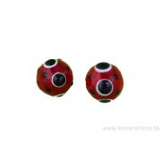Perle en verre d'artisan - ronde - rouge - pois noir x2