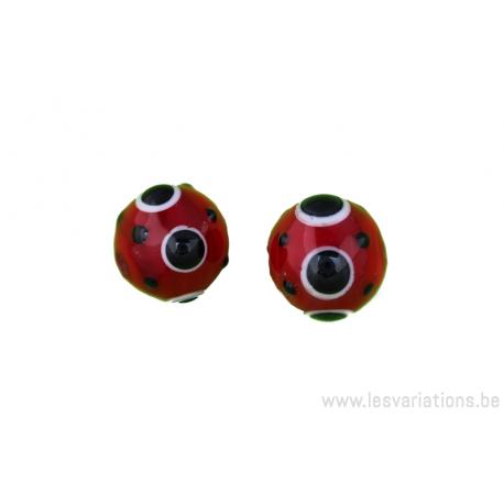 Perle en verre d'artisan - ronde - rouge - pois noir
