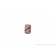 Perle en verre rectangulaire - rose ligné brun