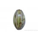 Perle en céramique - ovale - jaune - ligné brun