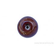 Perle en céramique - ronde -brun