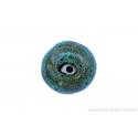 Perle en céramique - ronde - vert - ligné jaune - tacheté noir