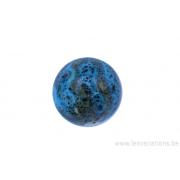 Perle en céramique - ronde - turquoise - ligné jaune - tacheté noir