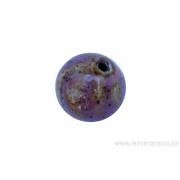Perle en céramique - ronde - rose - ligné jaune - tacheté noir