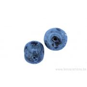 Perle en céramique - ronde - gris - tacheté noir