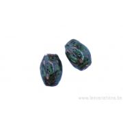 Perle en céramique - ovale - vert - tacheté brun