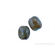 Perle en céramique -rectangulaire - nuance de brun /vert