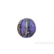 Perle en céramique - ovale - 4 facettes - nuance de rose /noir