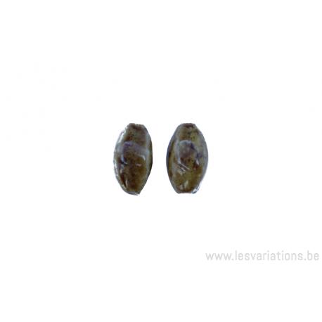Perle en céramique - ovale - 4 facettes - nuance de brun / jaune