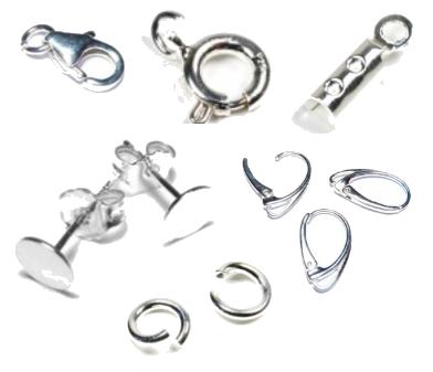 fermoir, anneaux, attache de boucles d'oreille, coupole